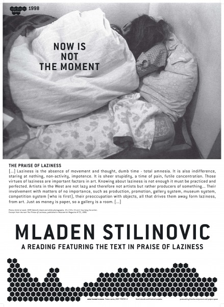 Mladen Stilinovic, A reading featuring the Text in Praise of Laziness, 1998