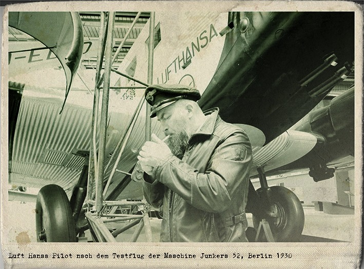 Luft Hansa pilot after test flight of machine Junerks 52, Berlin 1930