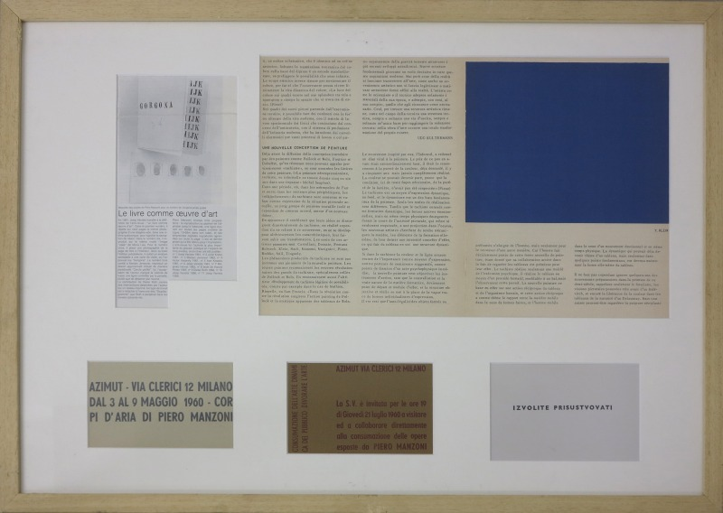 Josip Vaništa, Documentation: 2 Invitations of Piero Manzoni, Photocopy of an article about Manzoni for Gorgona, Article about Yves Klein